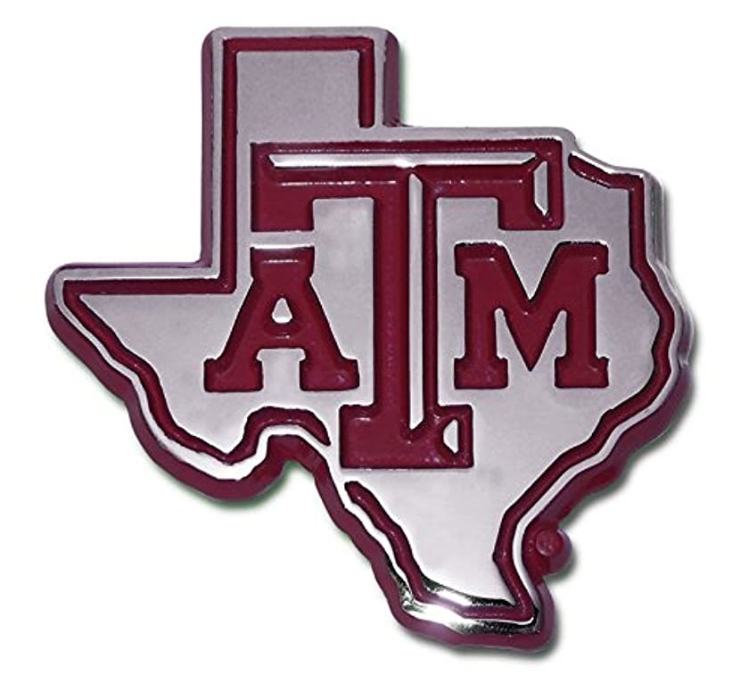 Texas A&M Aggies METAL Auto Emblem with Maroon Trim in Shape of Texas