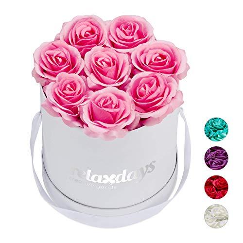 Relaxdays Rosenbox rund, 8 Rosen, stabile Flowerbox weiß, 10 Jahre haltbar, Geschenkidee, dekorative Blumenbox, rosa