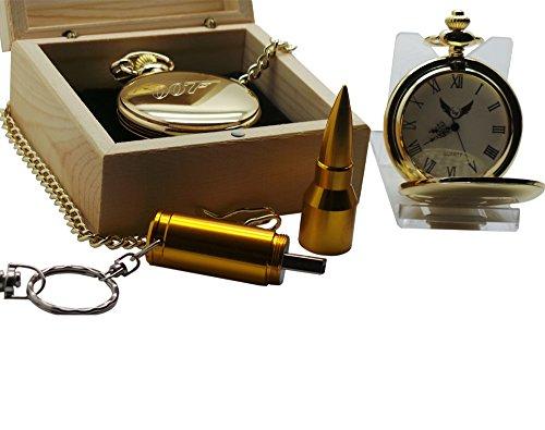 James Bond Collection 007 Taschenuhr und Schlüsselanhänger mit goldener Kugel, Geschenk-Set in Holzbox
