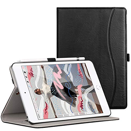 Ztotop for iPad Mini 5 Case, Leather Folio Stand Protective Case Smart Cover with Multi-Angle Viewing, Paperwork Card Pocket, Functional Elastic Strap for iPad Mini 5th Gen 2019 - Black
