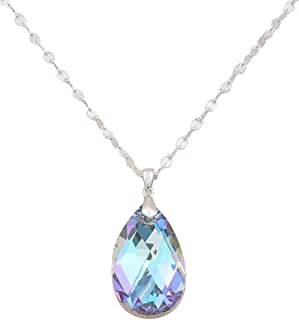 Tsful Necklace for Women Gemstone Necklace Cubic Zirconia Stone Sterling Silver Chain Pendant Necklace