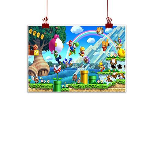 Xlcsomf Anime Wandbild New Super Mario Bros. U für Küche, Wohnzimmer, Schlafzimmer, dekoratives Bild, ungerahmt 71 x 50 cm