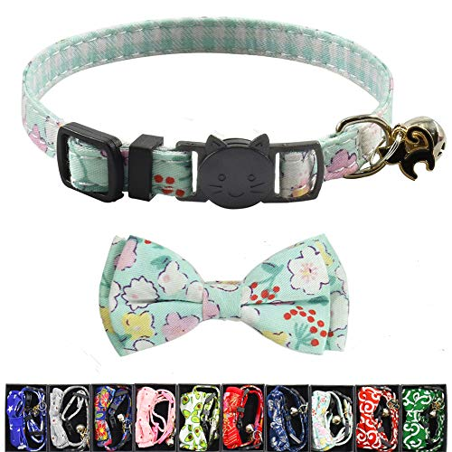XPangle Katzenhalsband mit Fliege und Glöckchen, verstellbar, niedliches Katzenhalsband, Sicherheitsschnalle, für Katzen, Welpen, 19-28 cm, 1