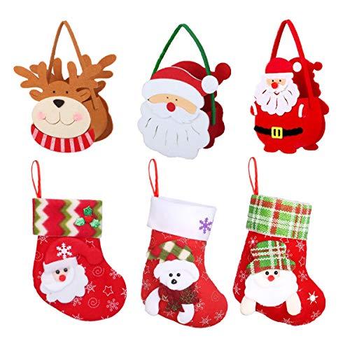 Counius 6 piezas Bolsa Dulces navideños Niños Calcetines Regalo Navidad Portátil Paño de Fieltro Bolsa Regalo Caja Sorpresa Creativa Reutilizable para Decoraciones Partido Caseras