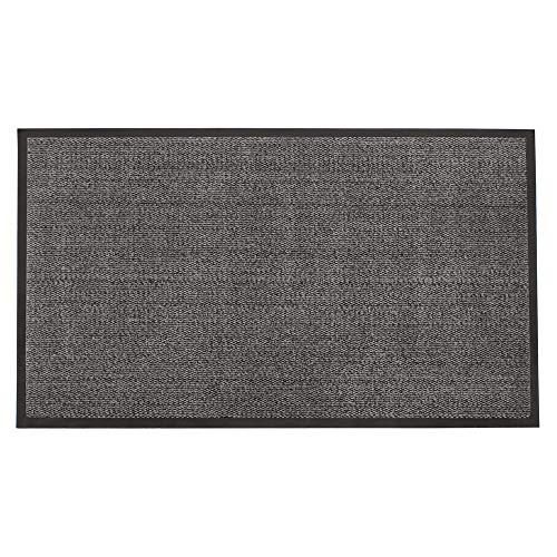 JVL Felpudo Antideslizante Goma para Puerta, de Vinilo, Gris/Negro, 80 x 140cm, Grande