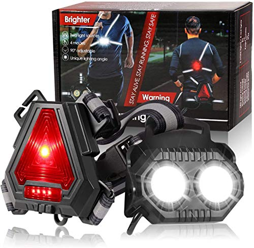 Lauflicht ECOWHO LED Lauflampe Joggen, USB Wiederaufladbare Lauflampe Sport, Wasserdicht Brustlampe, Einstellbarer Abstrahlwinkel Jogging Licht, Lampe zum Laufen für Joggen Nacht Angeln Campen Wandern