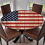 "Elastic Edged Polyester Fitted Table Cover,Fourth of July Independence Day Damaged Wooden Fence Looking Freedom Symbol,Fits up 40""-44"" Diameter Tables,The Ultimate Protection for Your Table,"