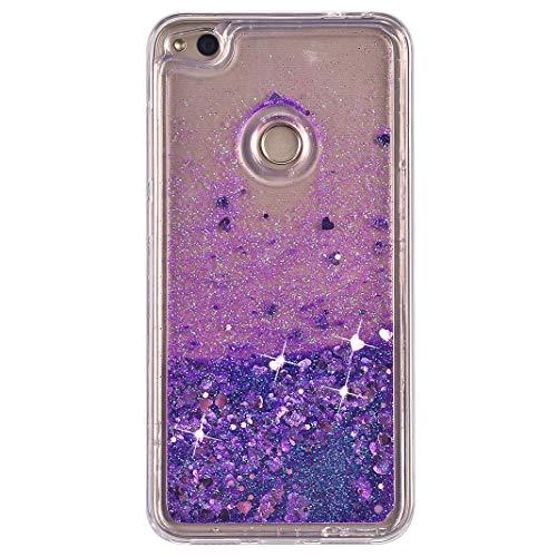 Compatible con Huawei P8 Lite 2017 Silicona Líquido Funda Púrpura, Bling Glitter Liquida Silicona Brillante Arena Movediza Carcasa Caso Fundas Compatible con Huawei P9 Lite 2017/Honor 8 Lite/Nova Lite