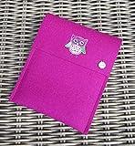 zigbaxx eReader Hülle EULE Case Sleeve Filz mit Tatze u.a. für Tolino Epos 1/2,Vision 5/4HD/3HD,Shine 3/2HD & Page - Schutzhülle aus 100% Wollfilz - Weihnachtsgeschenk - pink schwarz beige grau braun
