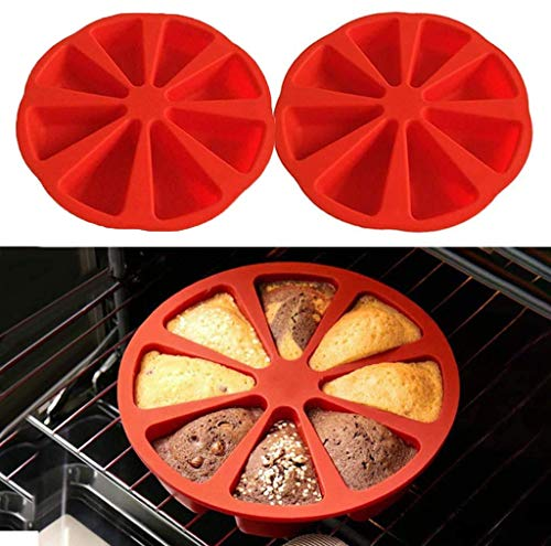 2 Pcs Silicone Baking Molds 8 Cavity Portion Cake Mold Soap Mold Pizza Slices Pan Scone Pan 8 Red Silicone Portion Chocolate Cake Cupcake Biscuit Soap Baking Mold for Home Kitchen