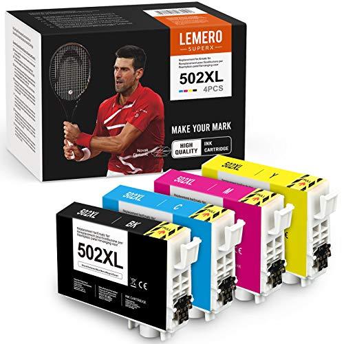 4 LEMERO SUPERX kompatibel für Epson 502XL 502 XL Multipack Druckerpatronen für Epson Workforce WF-2860DWF WF-2865DWF Expression Home XP-5100 XP-5105 Drucker