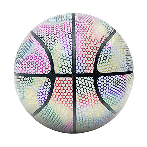 Find Discount DUTUI Reflective Basketball, White Moonlight Size 7 Laser Luminous Fluorescent Basketb...