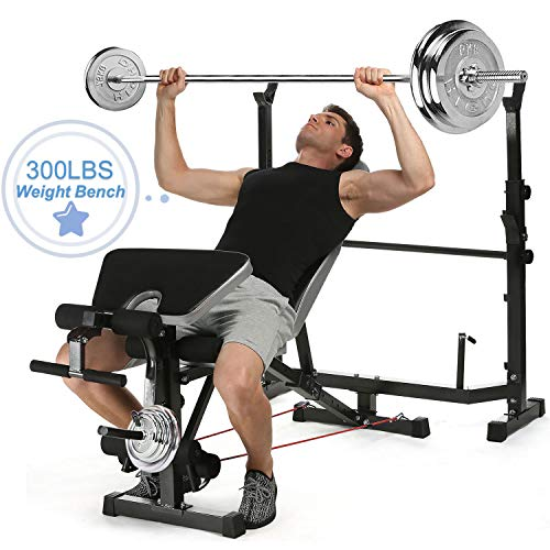 Korie Olympic Weight Bench with Preacher Curl, Leg Developer, Multi-Functional Weight Bench Set for Indoor Exercise (Black-1)
