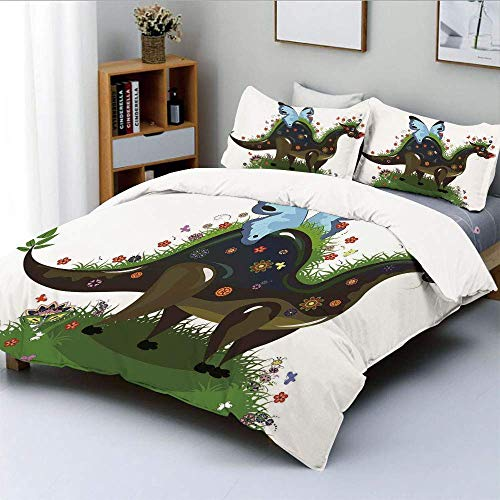 Duvet Cover Set,Butterfly Riding A Funny Dragon with Flowers Kids Nursery Cartoon Decorative 3 Piece Bedding Set with 2 Pillow Sham,Army and Olive Green Blue,Best Gift for Kids