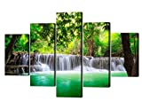 5 Panels Large Waterfall Canvas Painting...