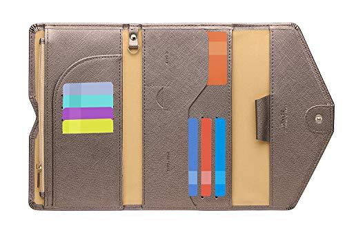 Zoppen Ver. 4 Reiseetui, RFID-blockierend, Ausweis, Reisepass, dreifach faltbar, Dokumenthalter, #18 Chocolate (Braun) - TG001
