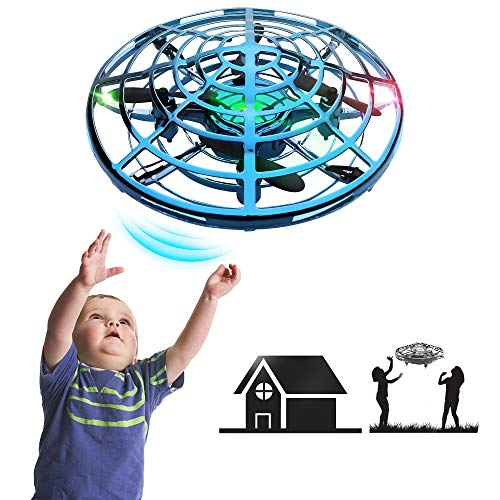 IOKUKI - Hand Operated Mini Drones for Kids & Adults with Shinning LED Lights, Small Drone UFO Flying Ball Toys for 6-12 Years Old Boys Girls Gifts (Blue)
