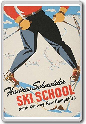Hannes Schneider Ski School, Noord Conway, Nieuwe Hampshire Vintage Koelkast Magneet