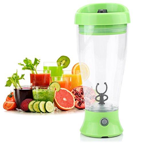 Draagbare Mixer Cup Protein Shaker Fles voor Koffie, Melk, Sap, Eiwitpoeder voor Thuis, Reizen, Kantoor / 300-400ML / 2 x AA Batterijen Ondersteuning Groen
