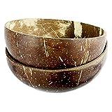 Bowl schüssel, Kokosnuss Schale | Handgemacht, vegan, umweltfreundlich | 100% Naturprodukt | für Acai-, Muesli-, Frühstücks-, Smoothie-, Buddha- Bowl Schüssel-2_Schalen_+_2_Löffel