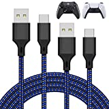 2 Pack 10FT Charger Charging Cable for PS5 and Xbox Series X/S Controller/Switch Pro Controller, Replacement USB Charging Cord Nylon Braided Type-C Ports Accessories for Playstation 5/ Xbox Series X