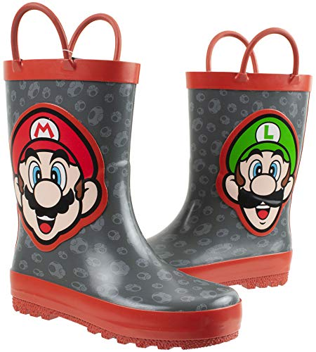 Super Mario Brothers Mario & Luigi Rain Boot for Kids, Nintendo, 100% Rubber, Waterproof, Grey Red, Toddler Size 7/8