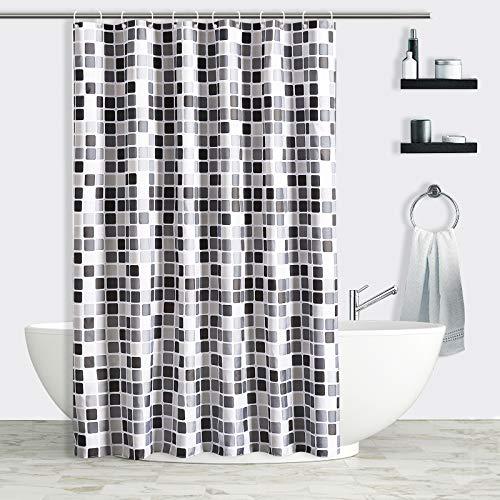 AVNICUD Duschvorhang, Mosaik-Duschvorhänge 120x180cm Anti-Schimmel und antibakterieller Badevorhang, wasserdichter Wannenvorhang mit 12 Duschvorhangringen für Dusche und Badewanne (120x 180 cm)