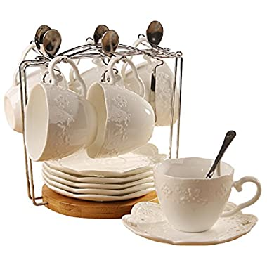 Porcelain Tea Cup and Saucer Coffee Cup Set with Saucer and Spoon, Set of 6 SI-BFLY-W