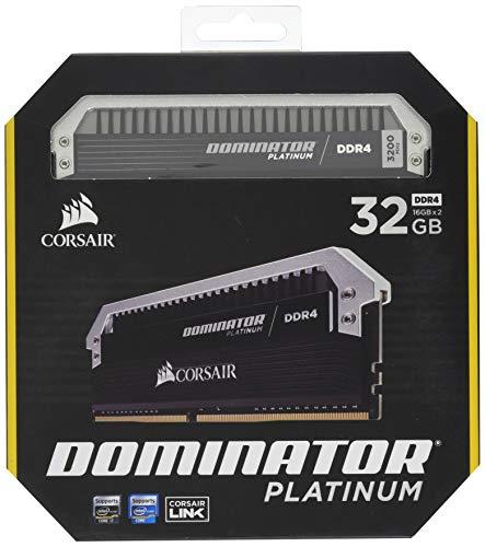 Corsair CMD32GX4M2C3200C16 Dominator Platinum Kit di Memoria per Desktop a Elevate Prestazioni, DDR4 32 GB, 2 x 16 GB, 3200 MHz, Nero