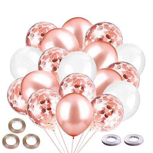 ZHOUHON 60 Piezas de Globos de Metal Dorado, Globos de Confeti Dorado, Globos Blancos Dorados, utilizados para cumpleaños, Fiesta de graduación, decoración de Fiesta de Baby Shower (Oro Rosa)