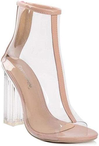 Mamrar Transparent PVC Peep Toe Cool démarrage Femmes Mode 11cm Cristal Chunkly Talon Partie Robe de Botte OL Chaussures de Cour de l'UE Taille 35-40