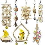 Barleycorn バードトイ 鳥おもちゃ オウムブランコ 鳥グッズ 鳥の遊び場 吊下げタイプ玩具 セキセイインコおもちゃ 噛む玩具 原木 (8点セット)