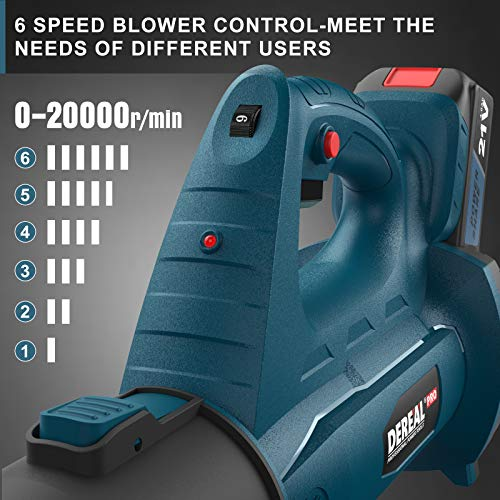 DEREAL PRO Cordless-Leaf-Blower 250 MPH 21V 4.0 Ah MAX Lithium Ion Powerful-Electric Leaf Blower 340 CFM Rechargeable Variable Speed Battery-Powered for Blowing Dust Pet-Hair Snow Leaves Garden House