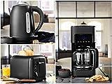 Design Edelstahl Frühstückset in Schwarz - Filterkaffeemaschine, Wasserkocher & Toaster