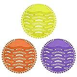 Mousyee UrinalSieb, 3 Stücke Urinalsieb Duft mit Duft- und Spritzwasserschutz Filter mit Antibakterieller und Entkalkender Funktion Antimikrobielle Matte für Badezimmer und Schule (Gelb, Orange, Lila)