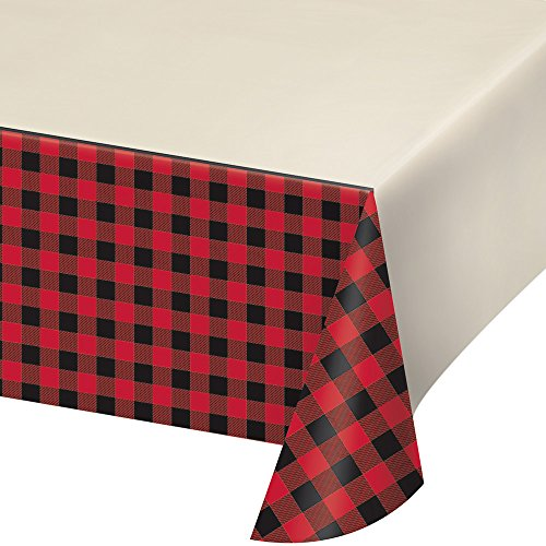 Creative Converting 322283 Black and Red Plaid Rectangular Plastic Tablecover, 1 Pc