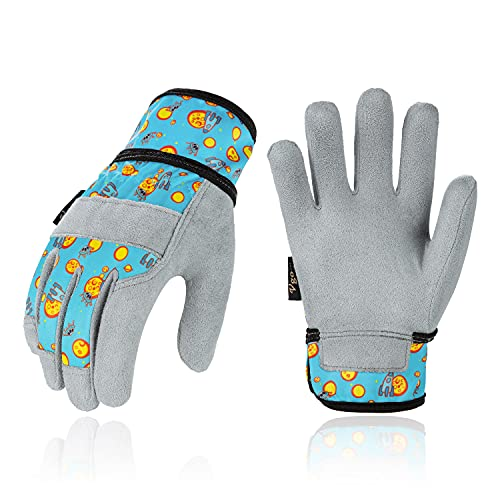 Vgo 1-Pair Age 7-8 Kids Soft Synthetic Leather Outdoor Gloves, Light Duty Work Gloves, Garden Gloves, High Dexterity, Excellent Breathability, Comfortable (Size XL, Blue Plane, KID-MF3561)