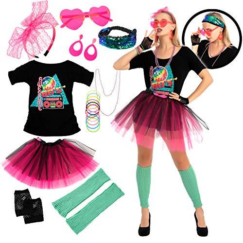 80s Costume Set with Awesome 80's T-Shirt, SKirt and Accessories