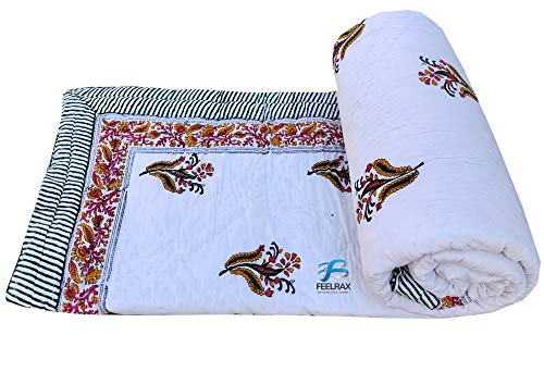 Feelcloud Coverlet Manta decorativa étnica con estampado de flores Jaipuri Razai relleno de algodón indio Kantha cama doble ligera | Super suave | Decoración de dormitorio | Manta tamaño King