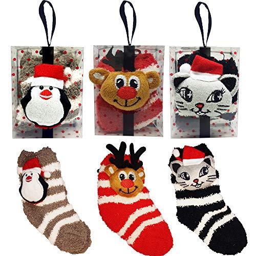 NITTEB Weihnachtssocken, Set mit 3 Packungen, 3D-Figur, Kinder, Einheitsgröße, lustige Geschenkidee, Geschenk zu Weihnachten, Unisex, 16 - 48 Monate, Baumwolle, bunt
