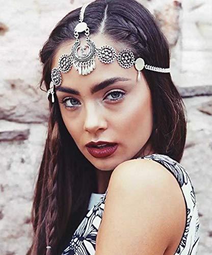 simsly Boho Head Kette Schmuck mit Anhänger Haar Kopfbedeckung für Frauen und Mädchen (Silber) ttl-7(Silber)