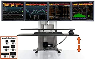 Stand Steady ErgoTech One Touch Electric Standing Desk Converter   Monitor Arm/Mount   Favorite Stand Up Desk of Stock Traders, Graphic Designers, More!(4 Monitors, Quad Ultra)