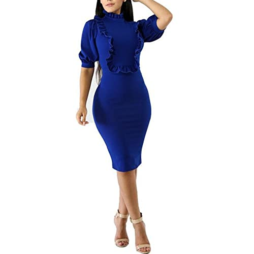 675605e3885423 Speedle Womens Wear to Work Short Puff Sleeves Ruffle Front Bodycon Midi  Dress