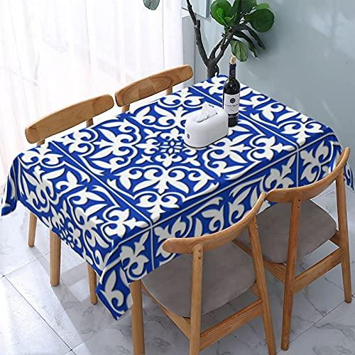 Bokueay Mantel Lavable Resistente a Las Arrugas de Azulejos marroquíes Azules y Blancos para Fiestas, Bodas, Cocina, Navidad, Cubierta de Mesa de Buffet 54 'x72'