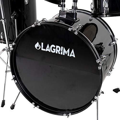 LAGRIMA 5 Piece Full Size Drum Set with Stand, Cymbals, Hi-Hat, Pedal,...