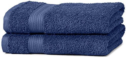 Amazon Basics AB Fade Resitant, 100% Algodón, Azulón, 2 toallas de manos