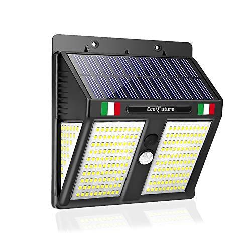 【1 ANNO DI GARANZIA INCLUSA】Eco Future Italia, 250 LED 270° Impermeabile IP65, Luce Solare Da Esterno Con Sensore Di Movimento, Lampada Solare Da Esterno, Faretto Solare LED Esterno (1 Pezzo)