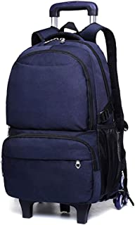 ZLSANVD Trolley Schoolbag - Boy's Six-Wheeled Trolley Bag Large Capacity Thickening and Extra Large Climbing Stairs Push-Pull Backpack Detachable Detachable Waterproof Trolley Backpac (Color : Blue)