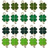 48 ciondoli a forma di quadrifoglio, in metallo, colore verde, a forma di quadrifoglio, per fai da te, collane, bracciali