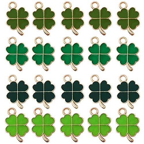 48 ciondoli a forma di quadrifoglio, in metallo, colore verde, a forma di quadrifoglio,...